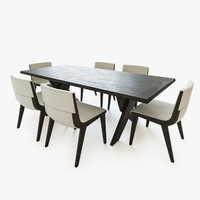 3d table chairs b italia model