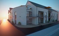 3d model of residential corner building