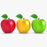3d model realistic apple 3 colors