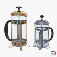 3d french press coffee pots model