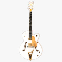 3d model gretsch white falcon guitar