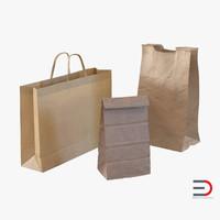 3d paper bags model