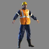 3d railway worker model