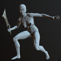 zbrush posed female 3d obj