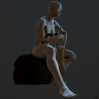zbrush posed female character 3d model