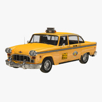 3d old nyc checker cab