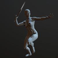 maya zbrush posed female character