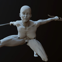 zbrush posed female obj
