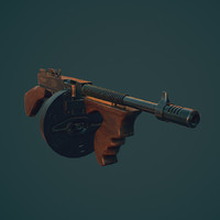 3d model of 1928 thompson gun