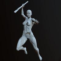 zbrush posed female character 3d model