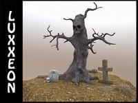 tree skull scene 3d model