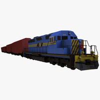 sd40-2 freight train 3d model