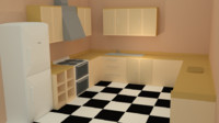 pack style kitchen - 3d model