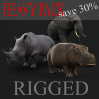 heavy animals rig pack 3d model