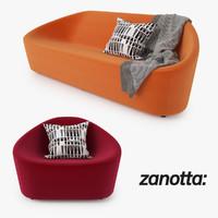3dsmax zanotta club sofa armchair