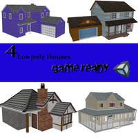 set houses 3d obj