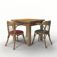 wood chair and table
