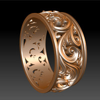 Ornament Wedding Band ring 2
