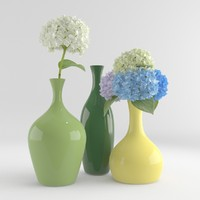 Hydrangea flower with pottery vase