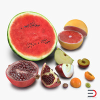 3d obj cross section fruits 2
