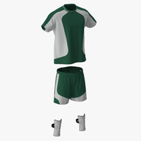 3d soccer uniform green model