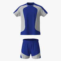 3d model soccer uniform blue 2