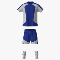 3d model soccer uniform blue