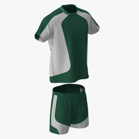 3d soccer uniform green 2 model