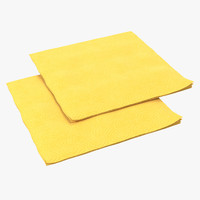 3d paper napkin yellow model