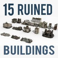 3d ruined building 2 damaged model