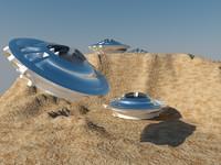 3d obj ufo desert scene