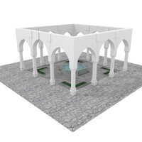3d medeival fountain pillars model