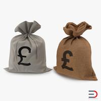 3d pound money bags model