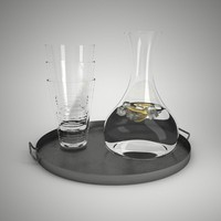 tray decanter tumblers 3d model