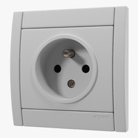 3d model european electrical outlet