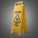 wet floor sign 3D models