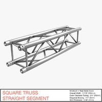 free square truss straight segment 3d model