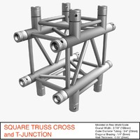 square truss cross t-junction 3ds