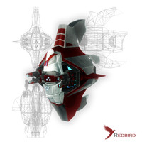 3ds sci-fi red drone