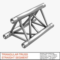free triangular truss straight segment 3d model