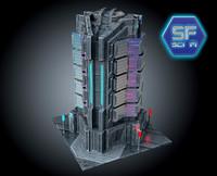 3d sci fi futuristic building
