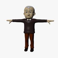 3d model grandfather cartoon character