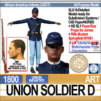 Civil War Union Soldier D African American Infantry with Poser Daz Props