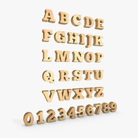 wooden letter number alphabet 3d model