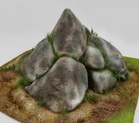 3d stones exterior grass model