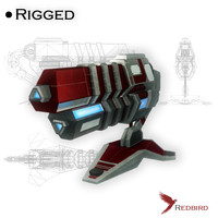 Spaceship cannon Ski-fi low poly