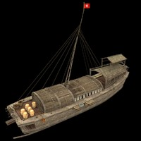 3d model chinese junk fishing boat
