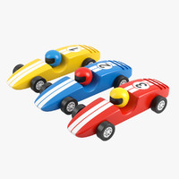 3d model wooden racing cars