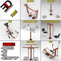 3d model outdoor fitness equipment