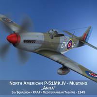 north american p-51k mustang 3d model